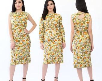 Paisley suit | Vintage 60s paisley dress | 1960s 2pc wiggle Dress suit