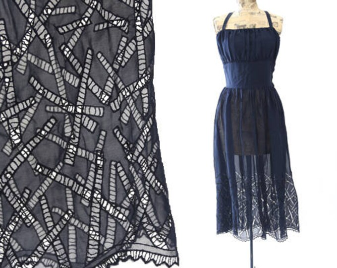 Vtg 50s sheer SILK navy blue embroidered cutout cocktail party mini dress M