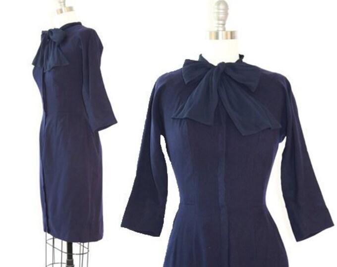 Ascot bow dress | Vintage 40s navy blue wool dress