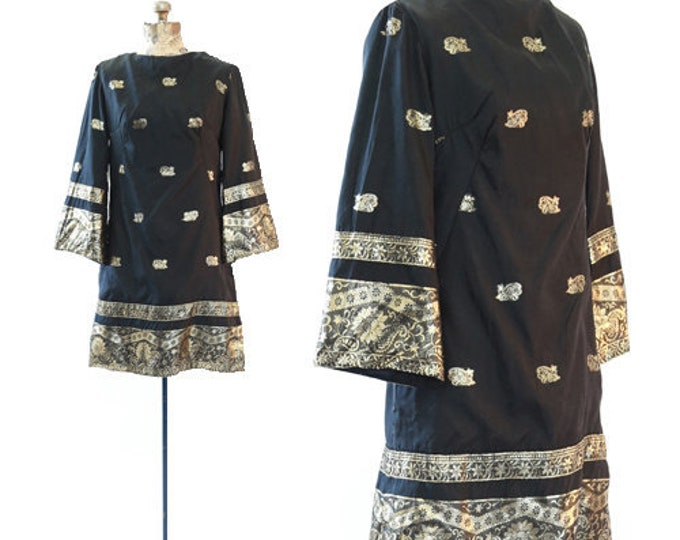 Indian gilt embroidered dress | Vintage 60s Indian mini dress