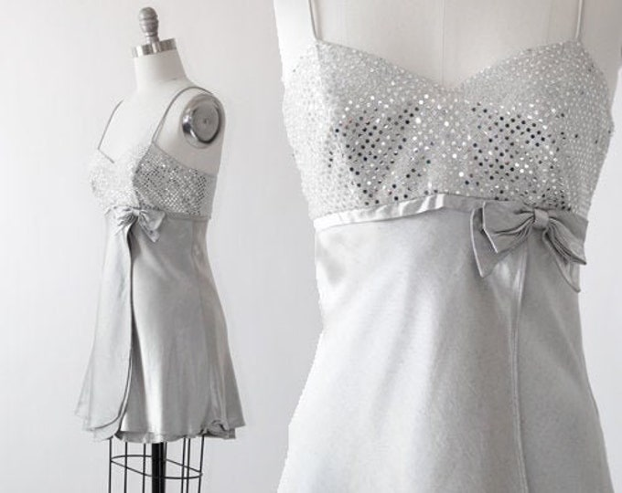 Vintage 90s silver mini bow dress