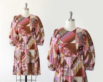 Patchwork mini dress | Vintage 60 70s Floral patchwork mini | Boho puff sleeve mini