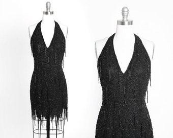 Nite Line beaded dress | Vintage 90s black beaded fringe silk mini dress | 1980s GLAM sequin beaded halter dress