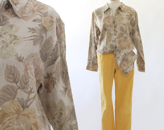 90's botanical linen blouse