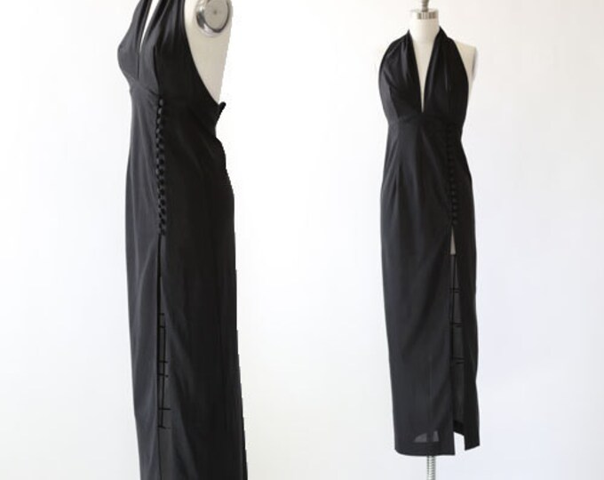 FREDERICKS OF HOLLYWOOD dress | Vintage 70s Fredericks of Hollywood 2pc halter maxi dress