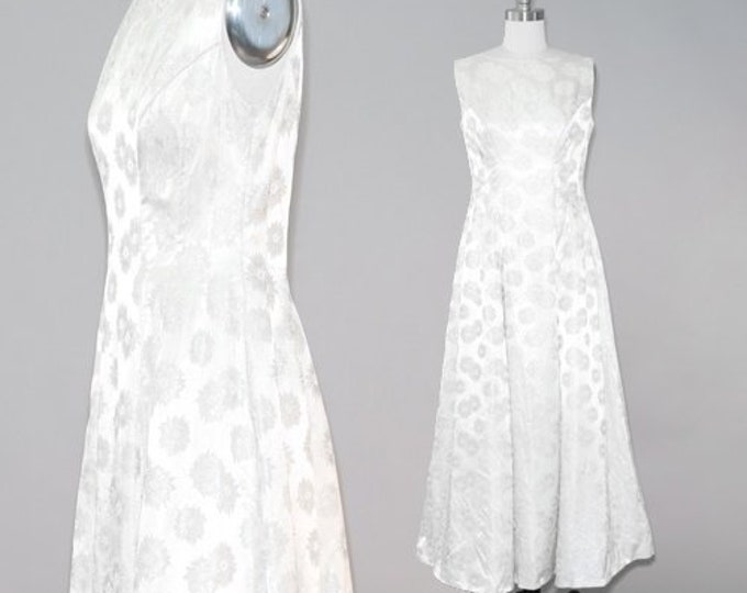 EMMA DOMB wedding dress | Vintage 1960s wedding dress | Vintage 60s silver floral maxi dress