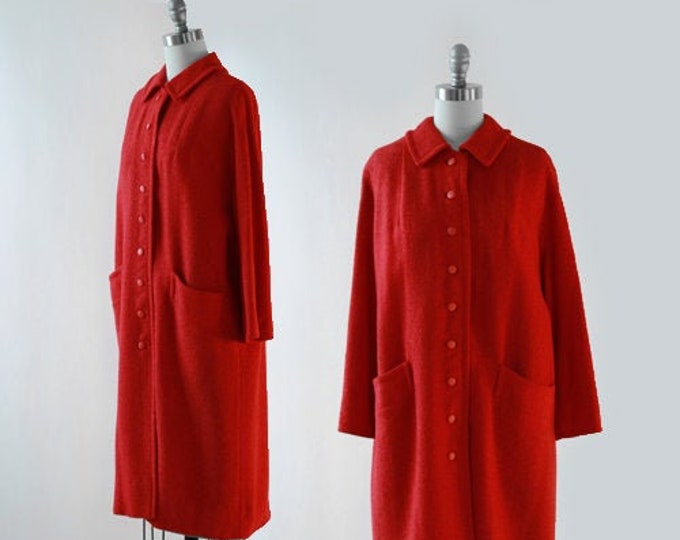 Travelaine tweed coat | Vintage 50s Red tweed wool coat | 1950s swing coat