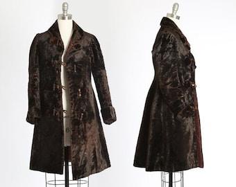 Antique Vintage Edwardian fur coat | 1900s mouton fur coat | Brown mouton velvet fur coat