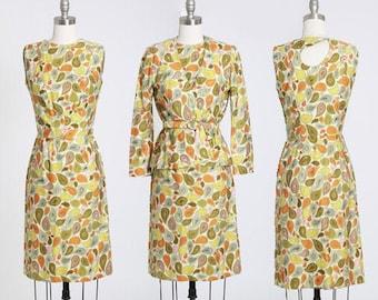 Paisley floral suit   Vintage 60s yellow paisley dress suit   1960s 2pc wiggle Dress suit
