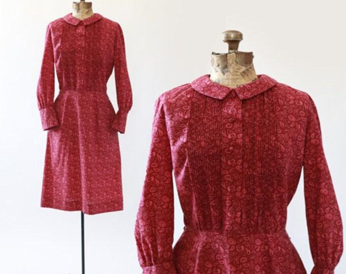 Roos Atkins paisley dress | Vintage 60s peter pan plated midi dress