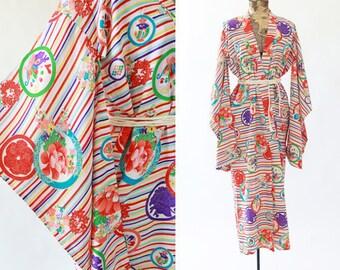 Antique 40s silk KIMONO   Vintage 40s rainbow Japanese kimono   wedding coat Jacket Robe   floral silk kimono