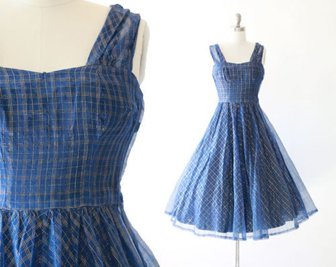 Starry Nite dress | Vintage 50s gold plaid dress | Vintage 50s full skirt dress