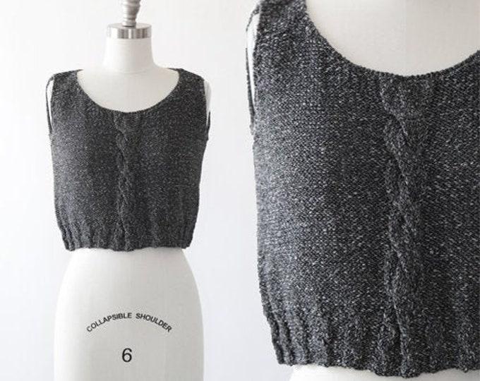 Crochet Knit tank top   Vintage 90s cable knit crop top