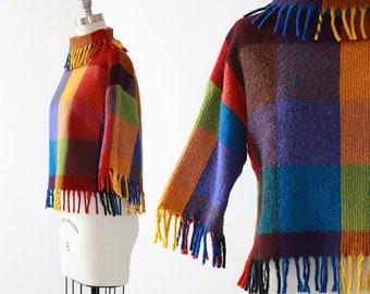 Chestnut Hill fringe sweater | Vintage 50s rainbow checker wool sweater | 50s rainbow loomed sweater