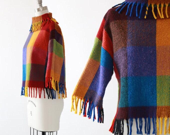 Chestnut Hill fringe sweater   Vintage 50s rainbow checker wool sweater   50s rainbow loomed sweater