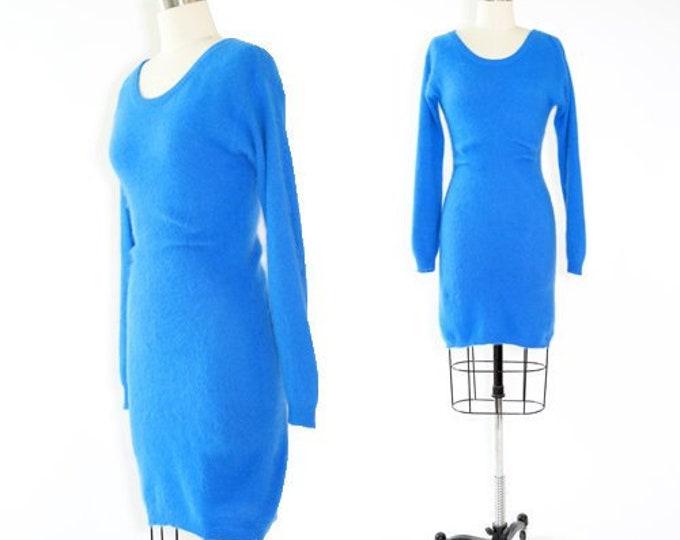 Angora knit sweater dress | Vintage 80s blue bodycon dress