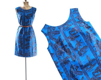 Hawaiian midi dress   Vintage 60s tropical cotton Tropical dress