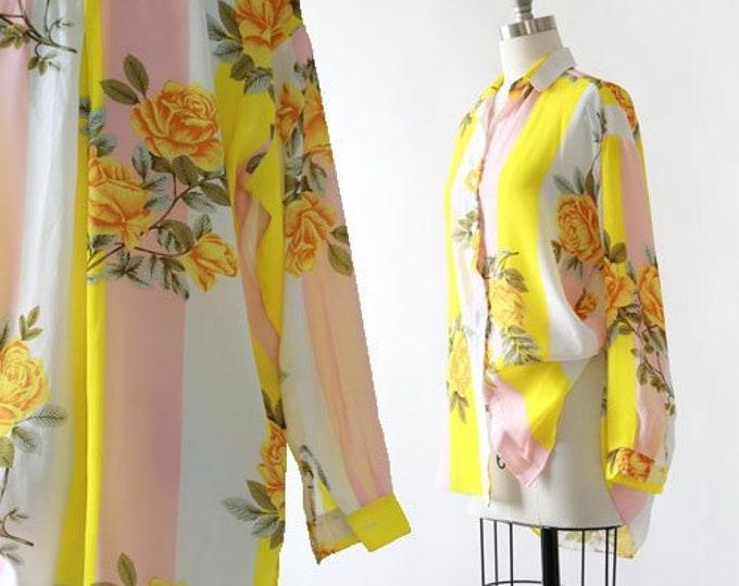 Rose blouse | Vintage 70s striped rose hi low blouse M | vintage cotton blouse