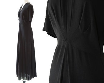 40s gown | Vintage 40s black crepe bias cut dress