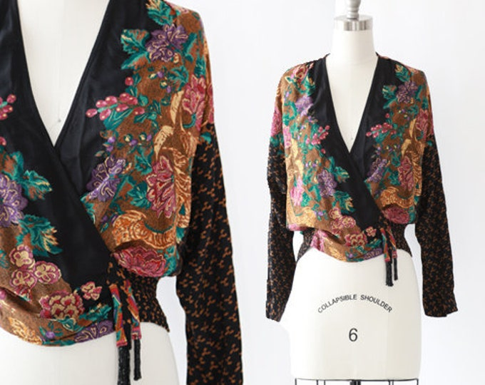 Carole Little blouse   vintage 90s floral crop top   beaded fringe wrap blouse