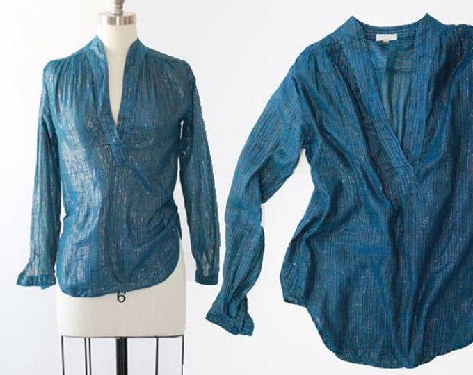 Indian cotton gauze Top   Vintage 70s metallic Lurex rainbow boho blouse TOP