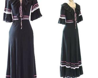 Bohemian cotton gauze dress   Vintage 70s lace up maxi dress