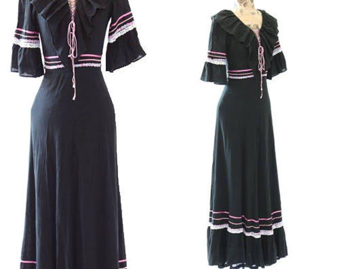 Bohemian cotton gauze dress | Vintage 70s lace up maxi dress