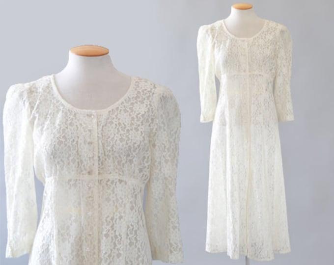 ivory lace dress | Vintage 90s floral lace wedding midi dress