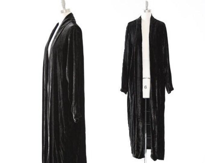 Marbled crushed velvet duster | Vintage 90s black duster coat Jacket