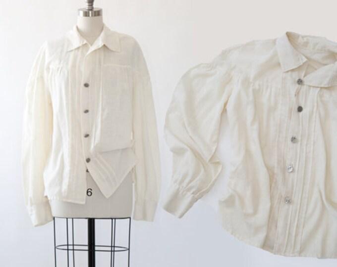 Antique Edwardian Civil War Muslin cotton shirt   1900s poet sleeve Silvertone HB button blouse