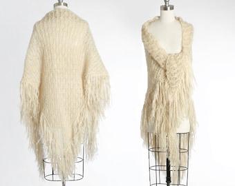 50s Mohair shawl | Vintage 1950s ivory crochet mohair fringe shawl