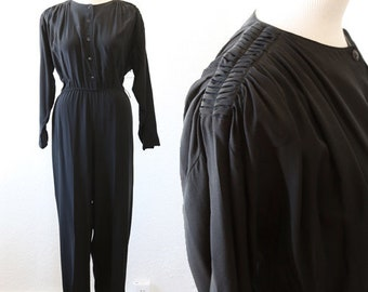 Vintage 90s Black Silk minimalist Jumpsuit playsuit S