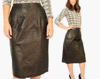 Black leather skirt | Vintage 80s high waist leather pencil skirt