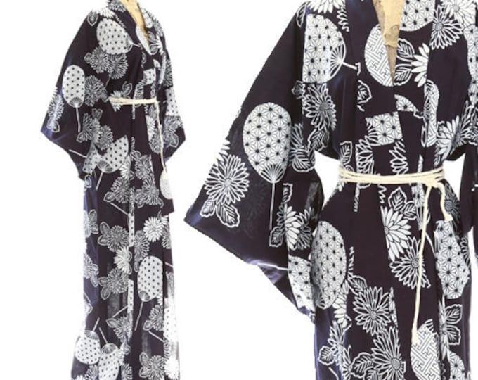 Antique 40s Fan kimono | Vintage 1940s cotton kimono | antique floral kimono robe