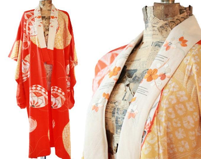 Antique vintage 1920s orange SILK floral Japanese KIMONO | wedding coat Jacket Robe | floral kimono
