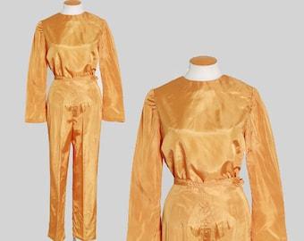Mustard satin suit    Vintage 50s 60s satin lounge pants set