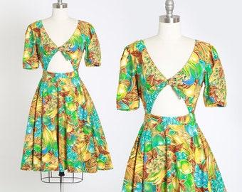 Tropical fruit dress | Vintage 90s cutout bow mini dress | 1990s tropical fruit cotton dress