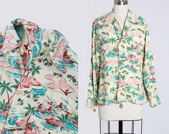 Vintage 50s Penney's Hawaiian rayon shirt | 1950s tropical Hawaiian Island long sleeve shirt