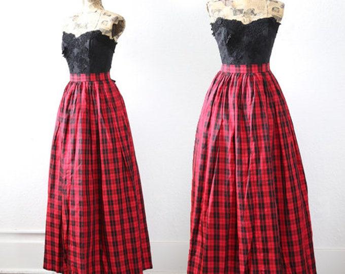 Vintage 50s 60s red plaid draped satin full skirt high waist maxi dress S M