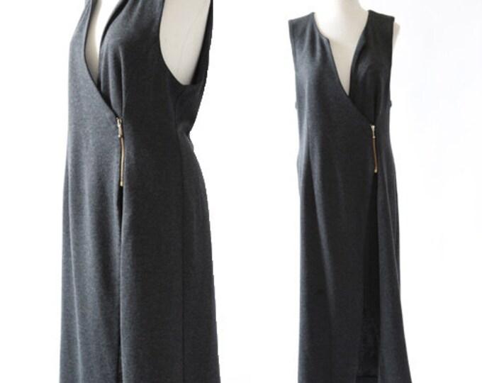 Cotton asymmetrical dress | Vintage 90s minimal cotton dress