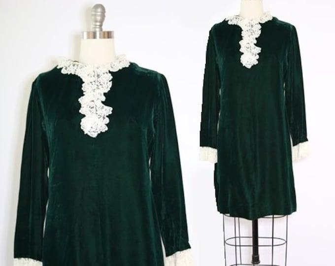 Tuxedo dress | Vintage 60s velvet lace mini dress