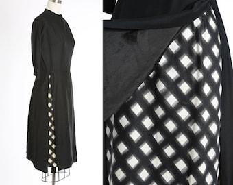 Checkerboard  dress | Vintage 40s black polished cotton dress | 1940s checker wiggle dress