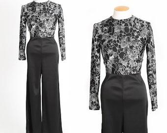 Floral jumpsuit | Vintage 70s black + white floral Jumpsuit | 1970s palazzo pant Disco jumpsuit
