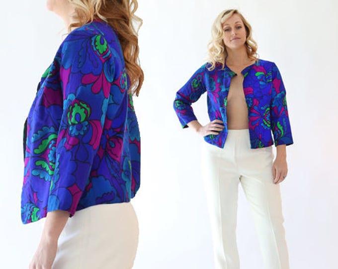 Vtg 60s Hawaiian TOP   Mod Floral Hawaiian cotton barkcloth psychedelic Crop Top coat jacket S