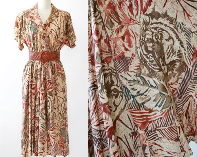 Safari Dress | Vintage 90s Tropical Jungle Tiger print midi dress
