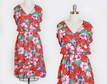 Hibiscus dress | Vintage 80s tropical Hawaiian rayon midi dress | 1980s Hawaiian dress