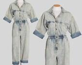 80s acid wash denim jumpsuit 1980s denim jumpsuit Cinched waist jean coveralls