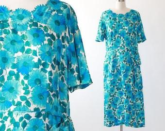 I. Magnin silk dress | Vintage 50s silk dress | 1950s silk floral dress