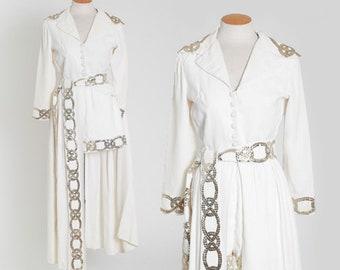 Emma Domb 3pc set   Vintage 60s white crepe sequin 3pc shorts set   1960s Emma Domb shorts cape jacket