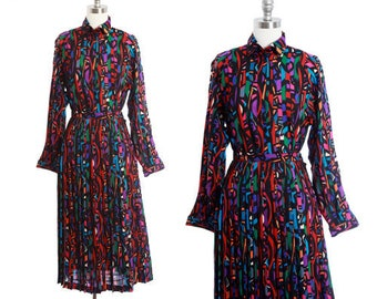 JAEGER rainbow suit | Vintage 70s abstract rainbow 2pc wool skirt blouse set | 1970s Jaeger dress skirt suit